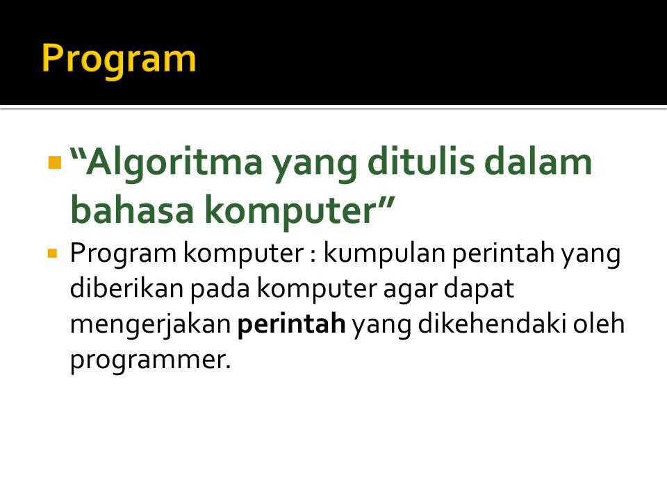 Program Algoritma yang ditulis dalam bahasa komputer