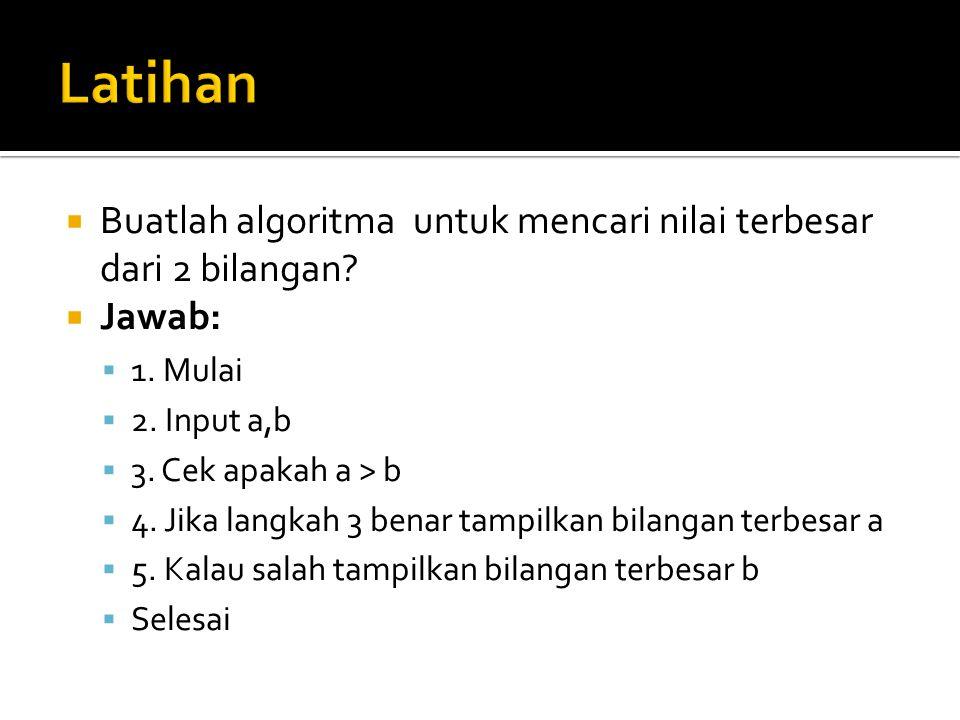 Latihan Buatlah algoritma untuk mencari nilai terbesar dari 2 bilangan Jawab: 1. Mulai. 2. Input a,b.