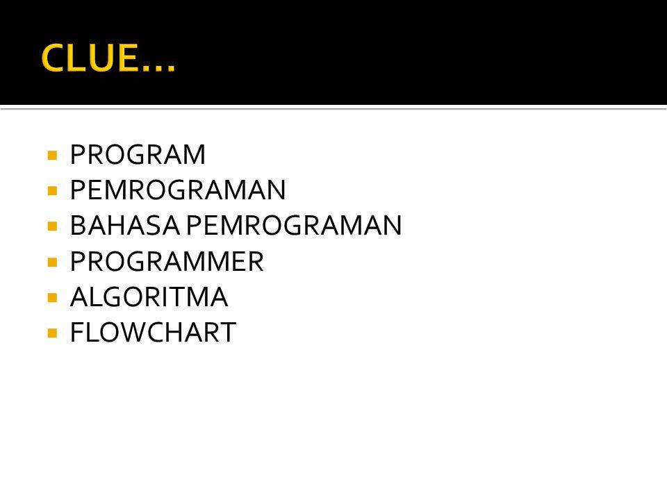 CLUE... PROGRAM PEMROGRAMAN BAHASA PEMROGRAMAN PROGRAMMER ALGORITMA