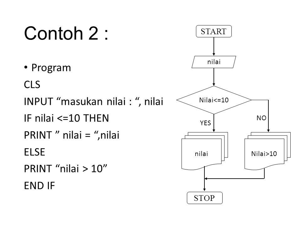 Contoh 2 : Program CLS INPUT masukan nilai : , nilai