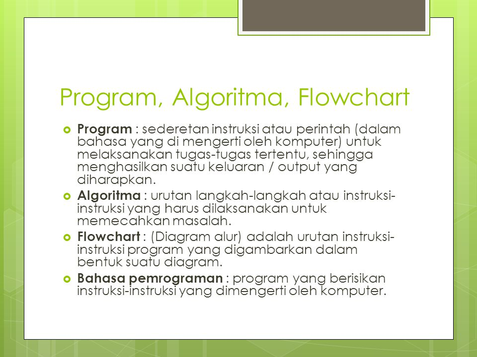 Program, Algoritma, Flowchart