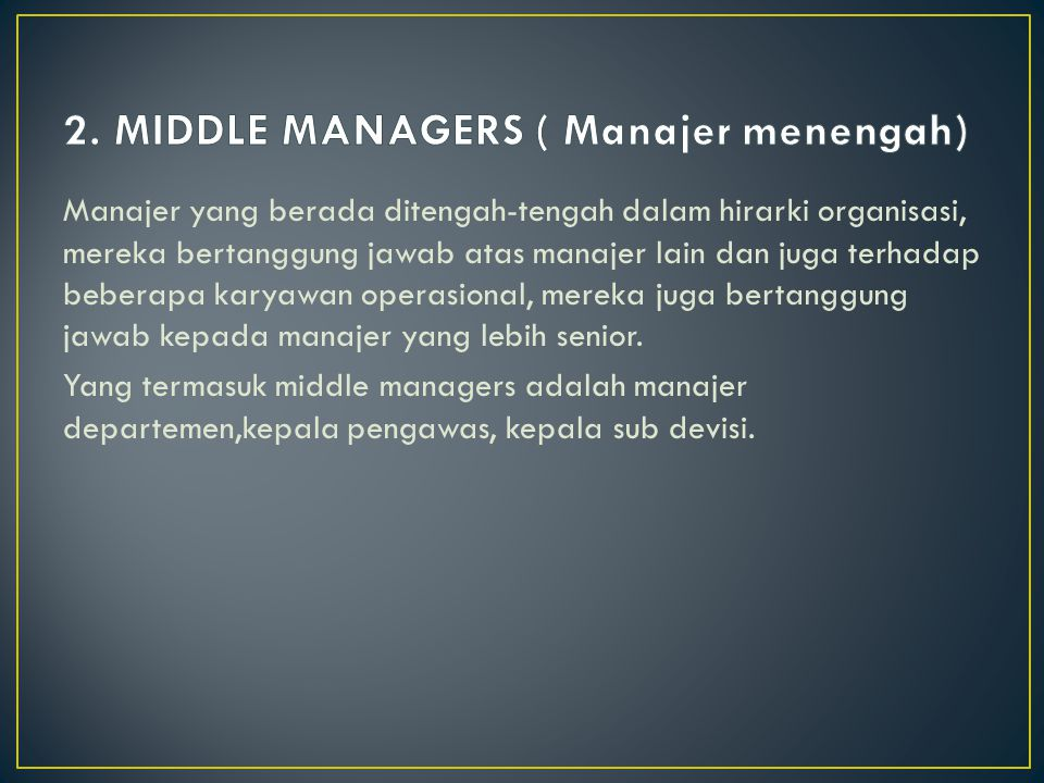 2. MIDDLE MANAGERS ( Manajer menengah)