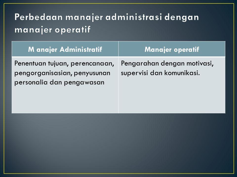 Perbedaan manajer administrasi dengan manajer operatif
