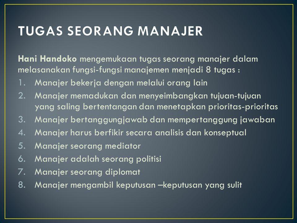 TUGAS SEORANG MANAJER Hani Handoko mengemukaan tugas seorang manajer dalam melasanakan fungsi-fungsi manajemen menjadi 8 tugas :