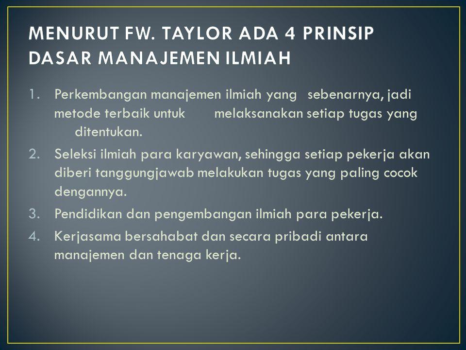 MENURUT FW. TAYLOR ADA 4 PRINSIP DASAR MANAJEMEN ILMIAH