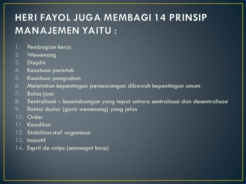 HERI FAYOL JUGA MEMBAGI 14 PRINSIP MANAJEMEN YAITU :