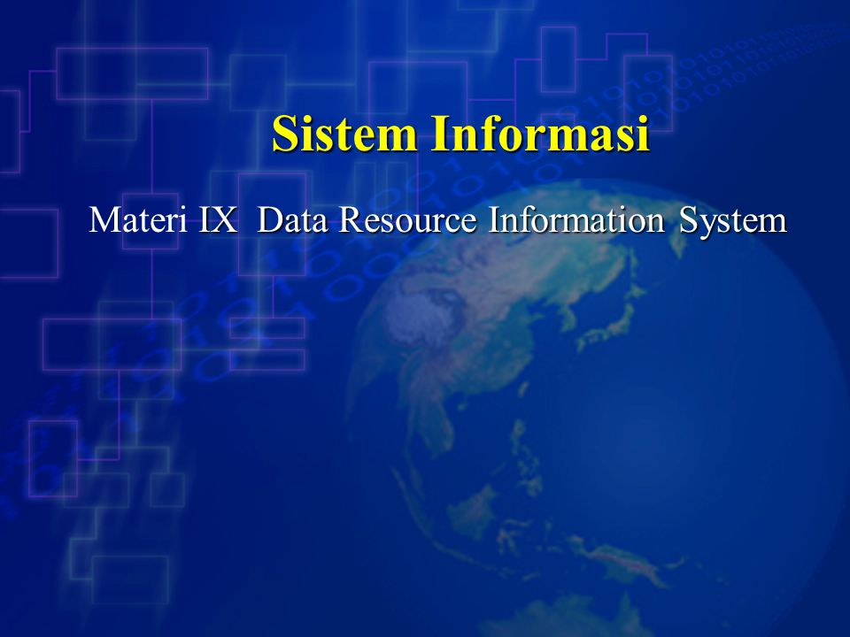 Materi IX Data Resource Information System