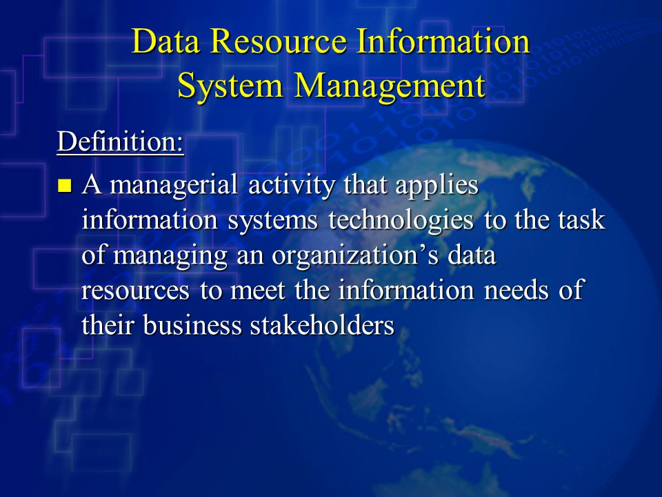 Data Resource Information System Management
