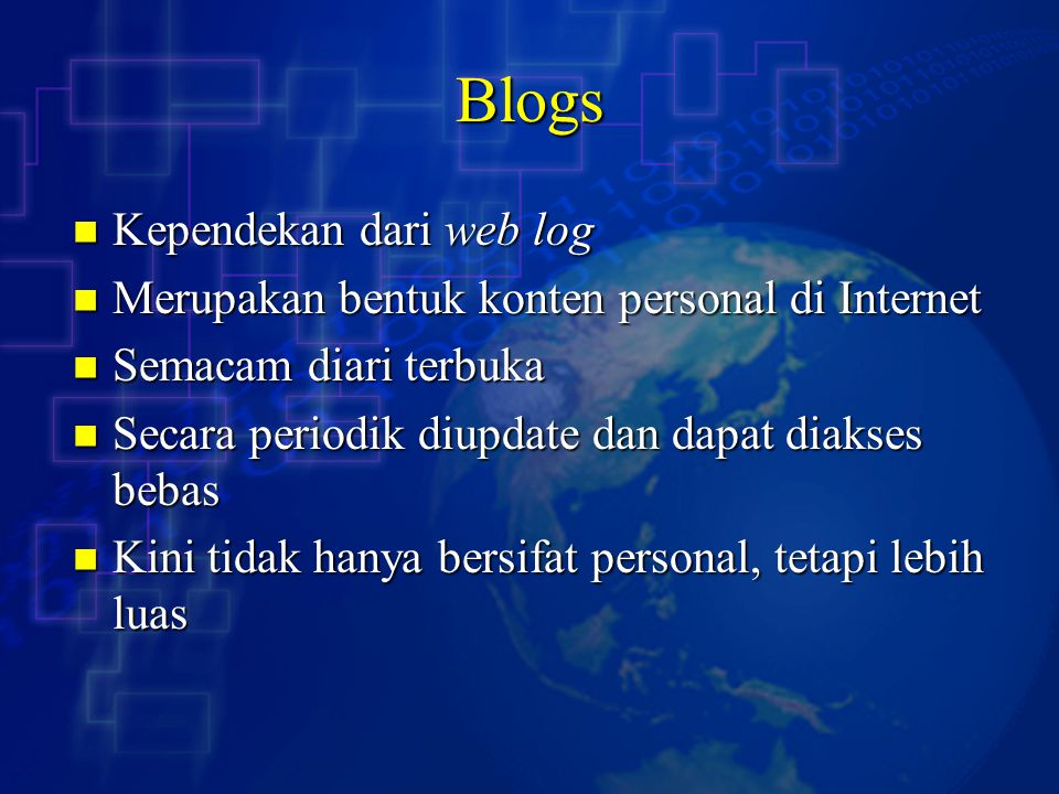Blogs Kependekan dari web log