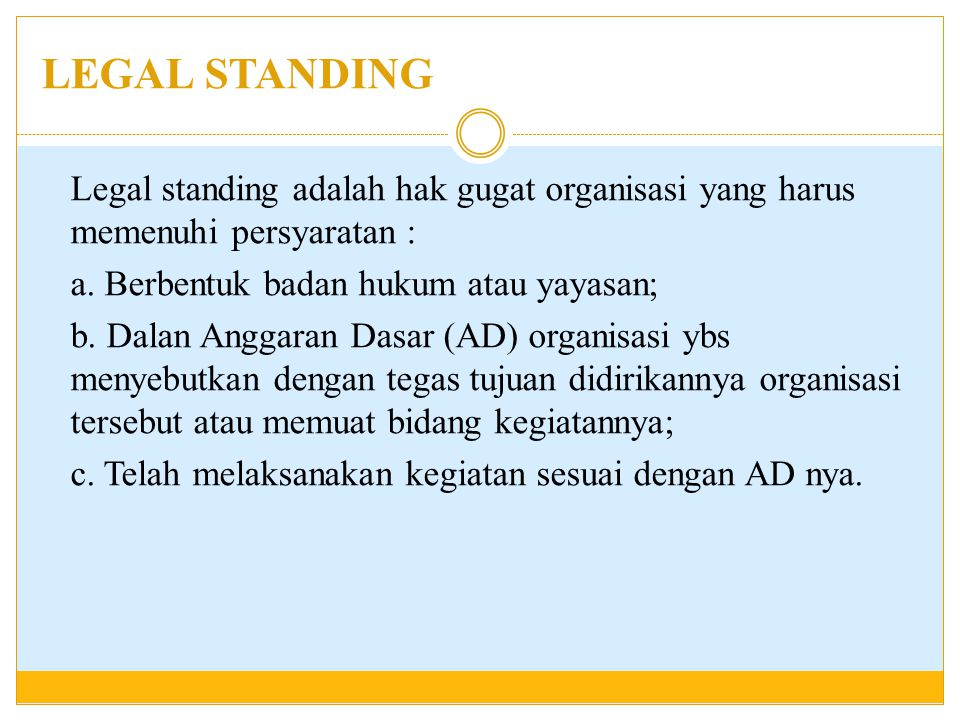 LEGAL STANDING
