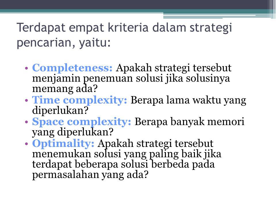 Terdapat empat kriteria dalam strategi pencarian, yaitu: