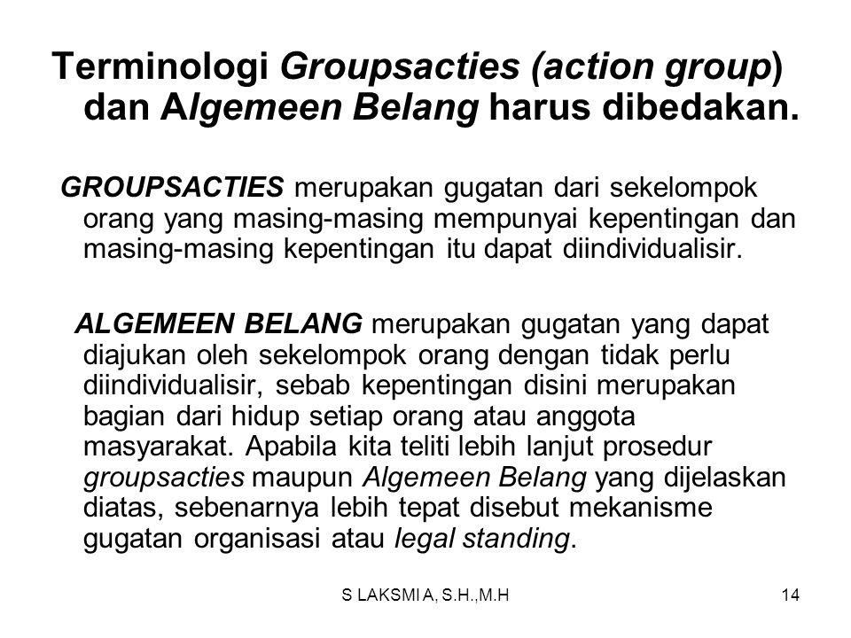 Terminologi Groupsacties (action group) dan Algemeen Belang harus dibedakan.
