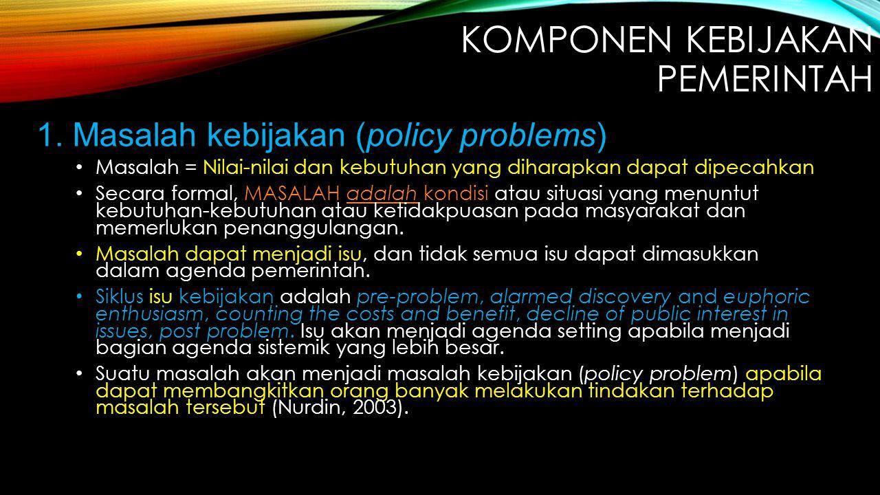 1. Masalah kebijakan (policy problems)