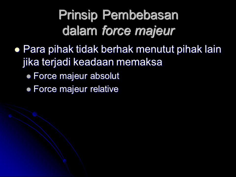 Prinsip Pembebasan dalam force majeur