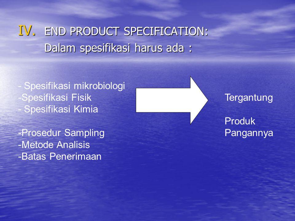 END PRODUCT SPECIFICATION: Dalam spesifikasi harus ada :