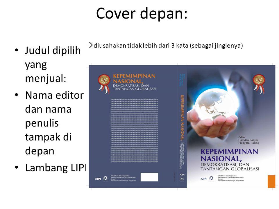 Cover depan: Judul dipilih yang menjual: