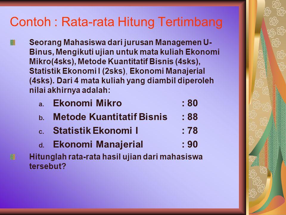 Contoh : Rata-rata Hitung Tertimbang