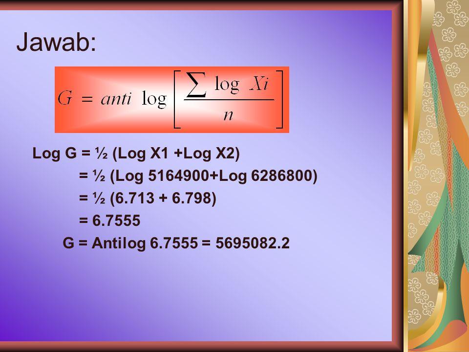 Jawab: Log G = ½ (Log X1 +Log X2) = ½ (Log 5164900+Log 6286800)