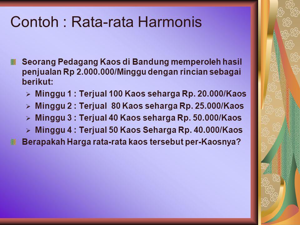 Contoh : Rata-rata Harmonis