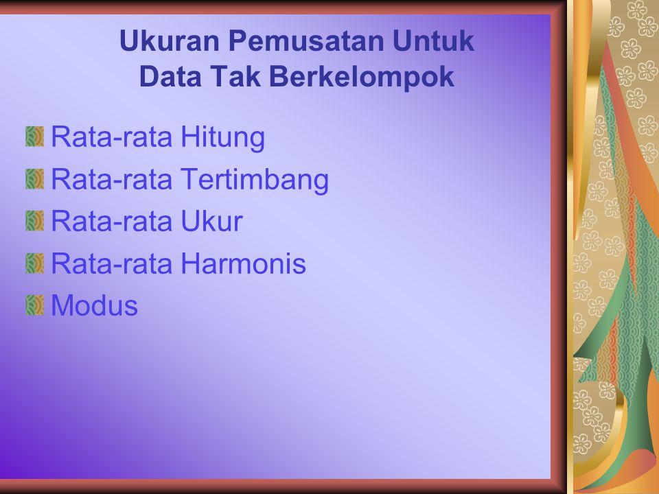 Ukuran Pemusatan Untuk Data Tak Berkelompok