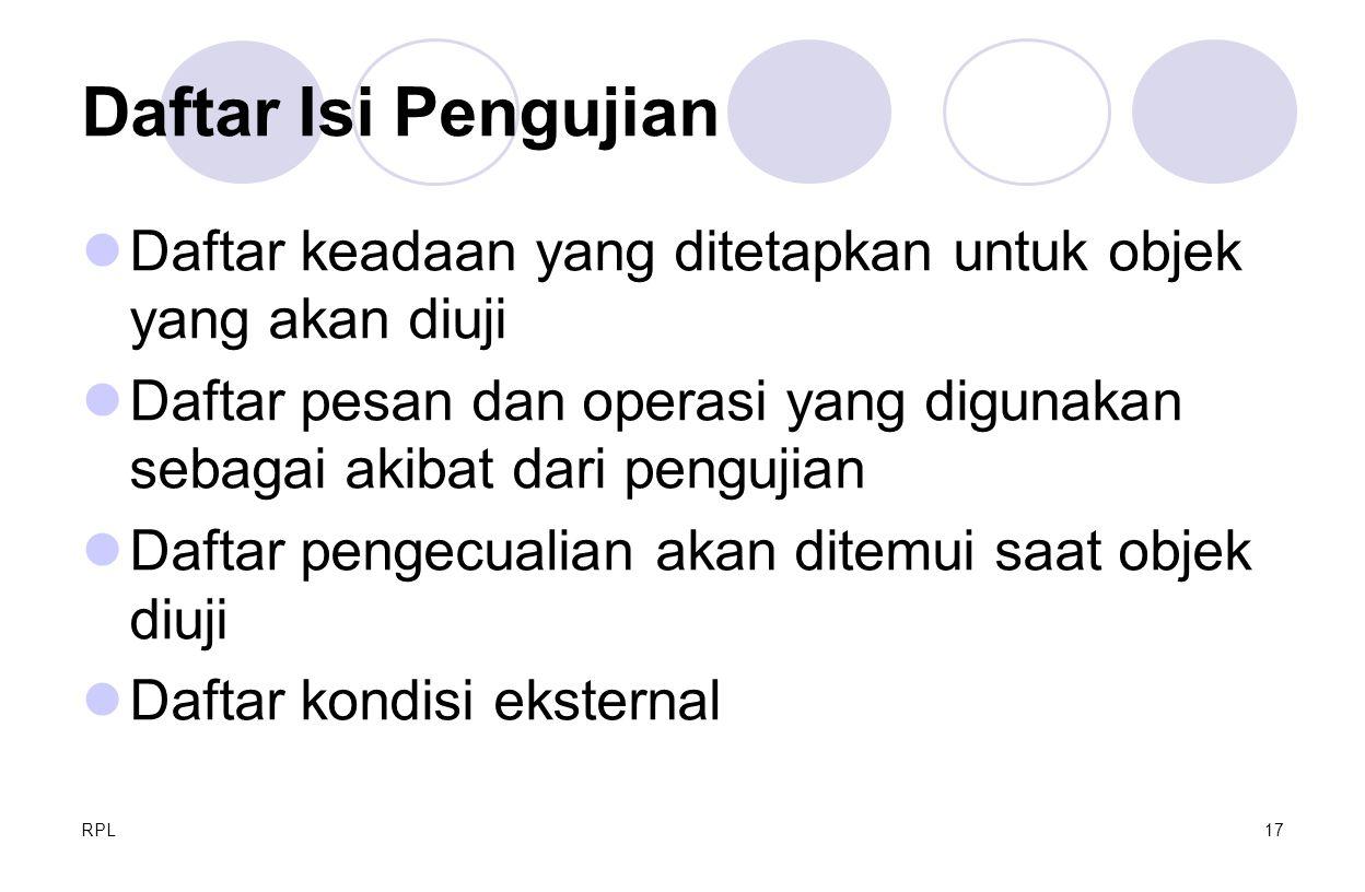 Daftar Isi Pengujian Daftar keadaan yang ditetapkan untuk objek yang akan diuji.