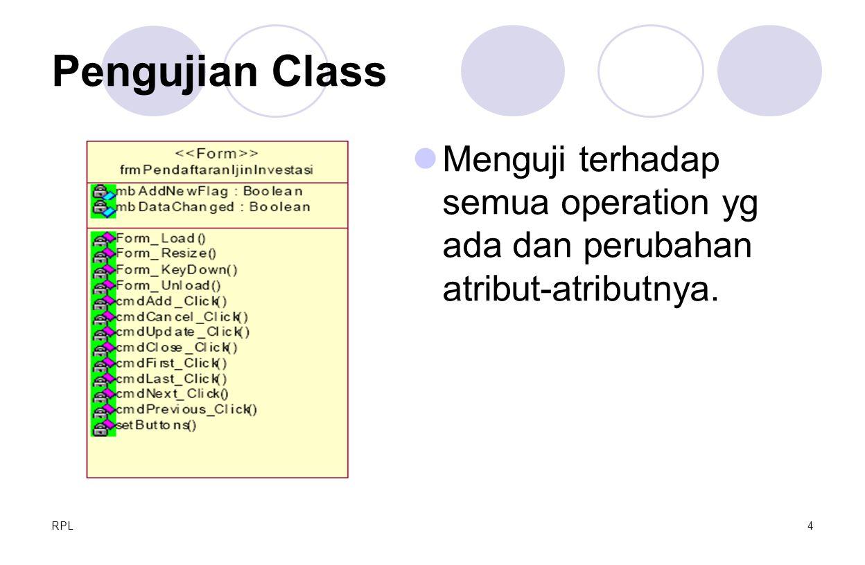 Pengujian Class Menguji terhadap semua operation yg ada dan perubahan atribut-atributnya. RPL