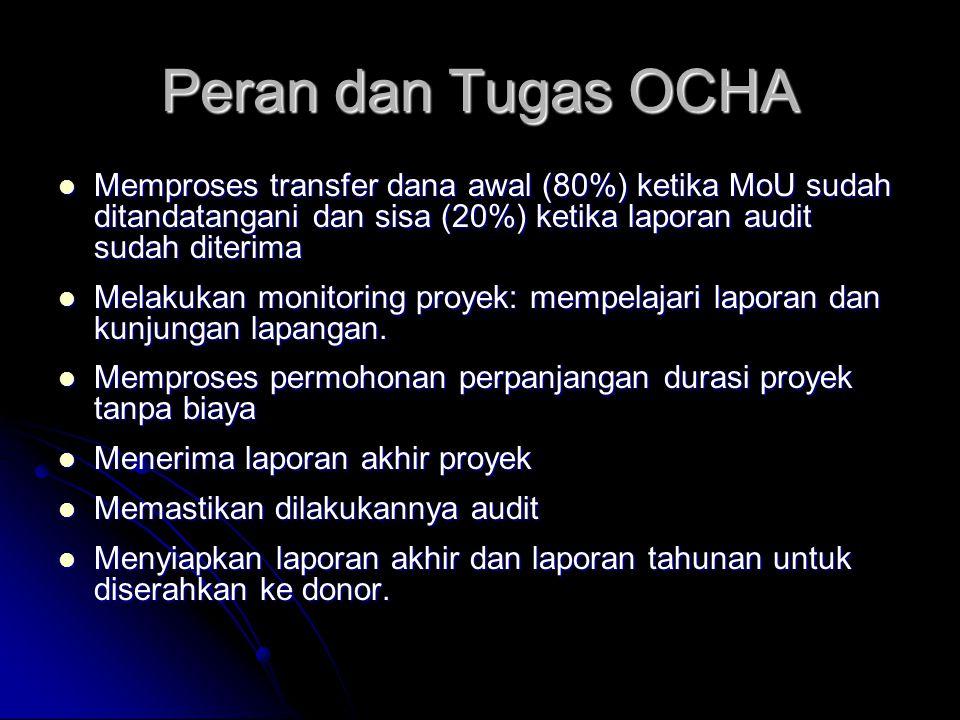 Peran dan Tugas OCHA Memproses transfer dana awal (80%) ketika MoU sudah ditandatangani dan sisa (20%) ketika laporan audit sudah diterima.