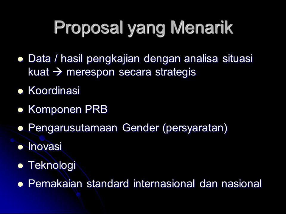 Proposal yang Menarik Data / hasil pengkajian dengan analisa situasi kuat  merespon secara strategis.