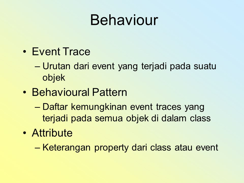 Behaviour Event Trace Behavioural Pattern Attribute