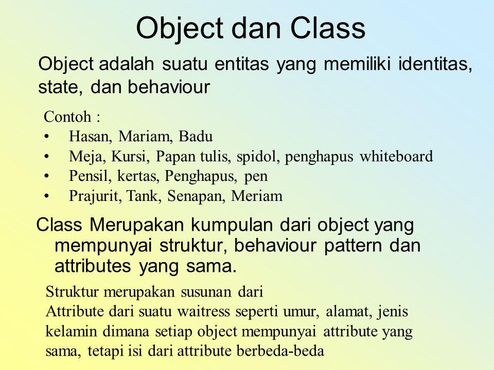 Object dan Class Object adalah suatu entitas yang memiliki identitas, state, dan behaviour. Contoh :