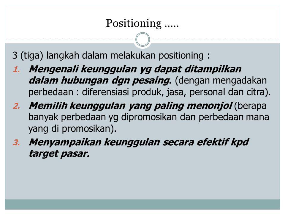 Positioning ..... 3 (tiga) langkah dalam melakukan positioning :