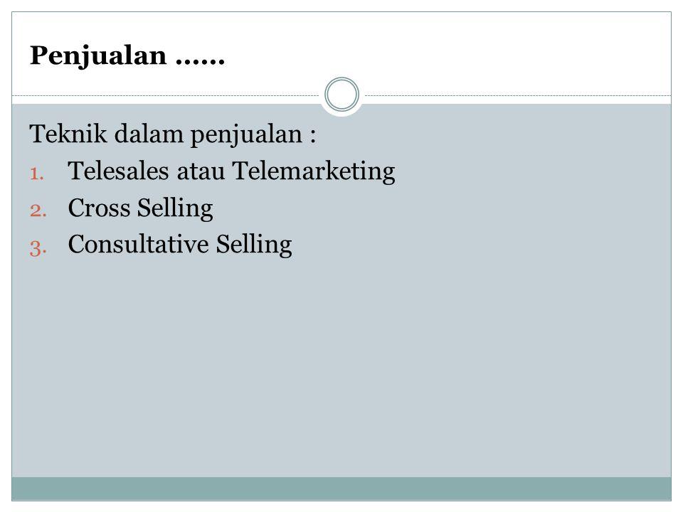 Penjualan ...... Teknik dalam penjualan : Telesales atau Telemarketing