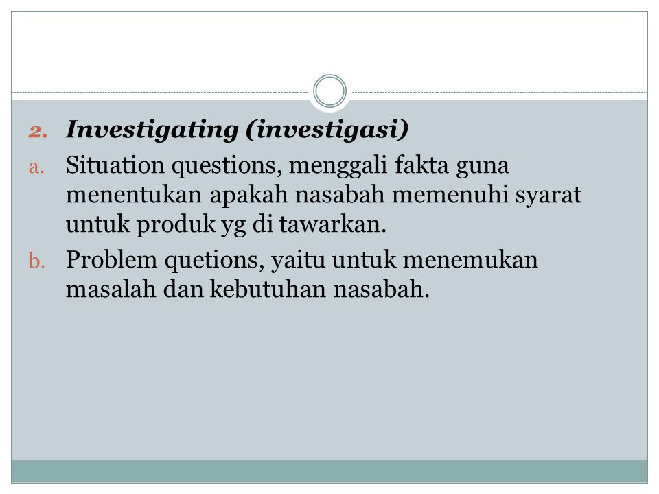 Investigating (investigasi)