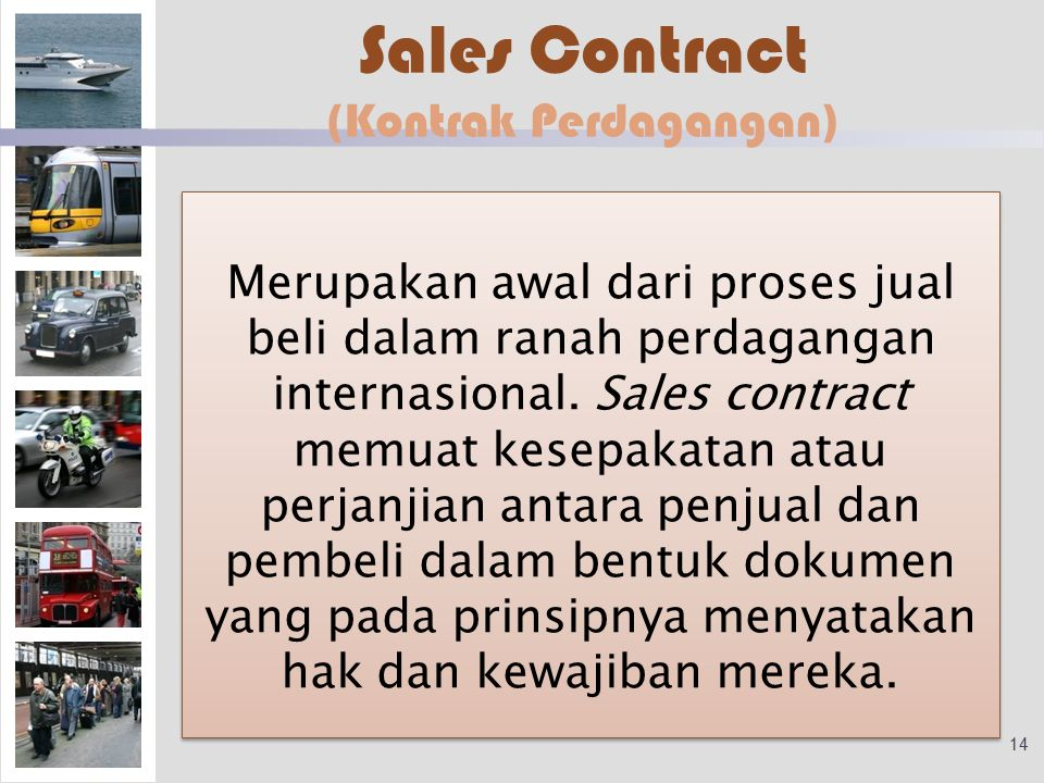 Sales Contract (Kontrak Perdagangan)