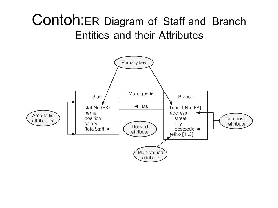 Contoh:ER Diagram of Staff and Branch Entities and their Attributes