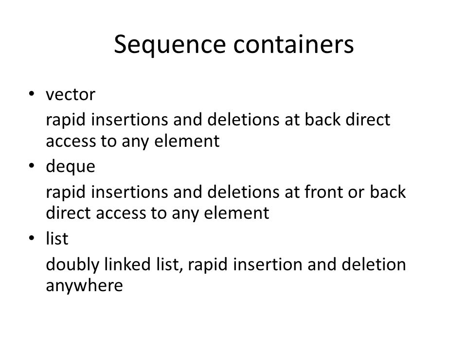 Sequence containers vector