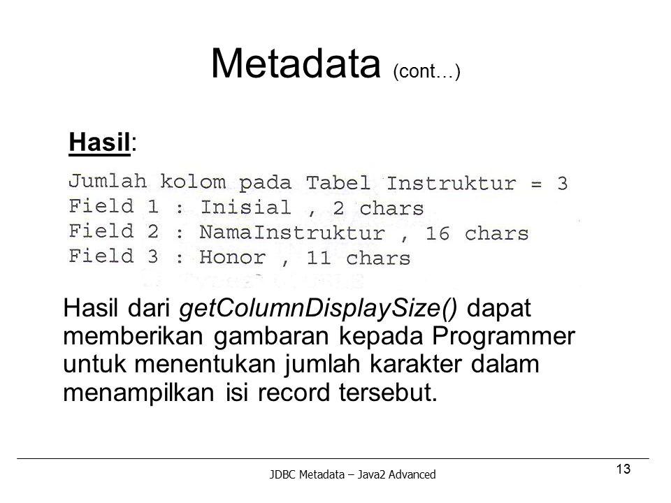 Metadata (cont…) Hasil: