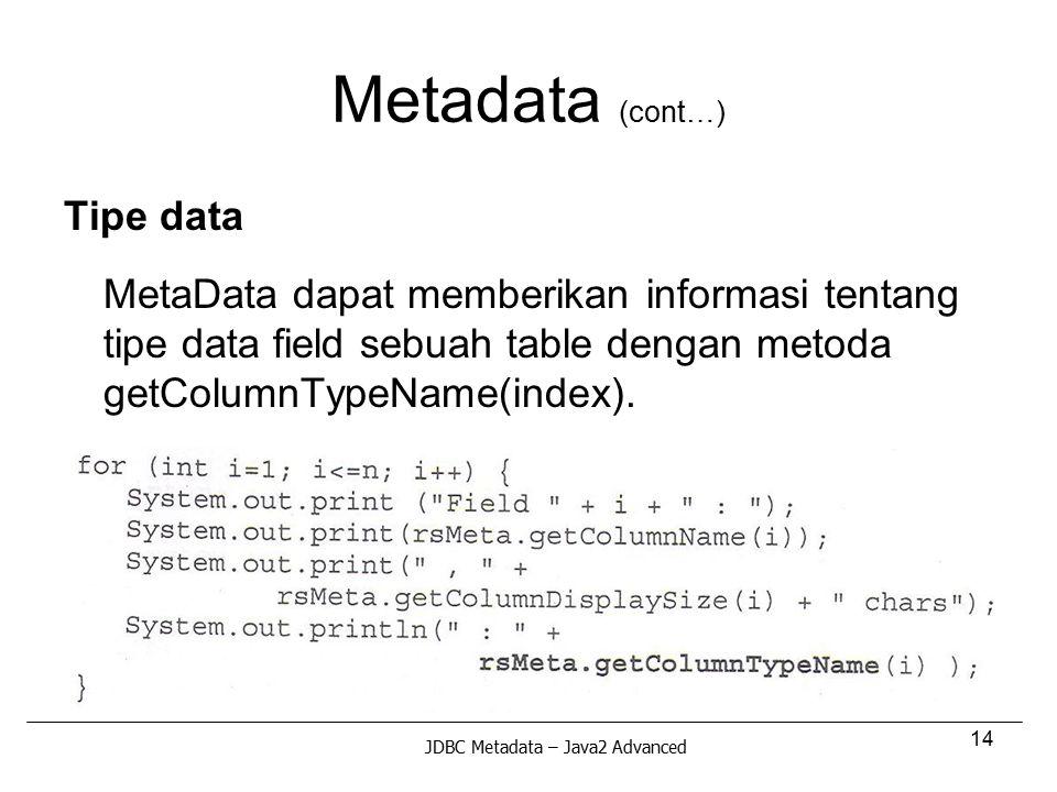 Metadata (cont…) Tipe data