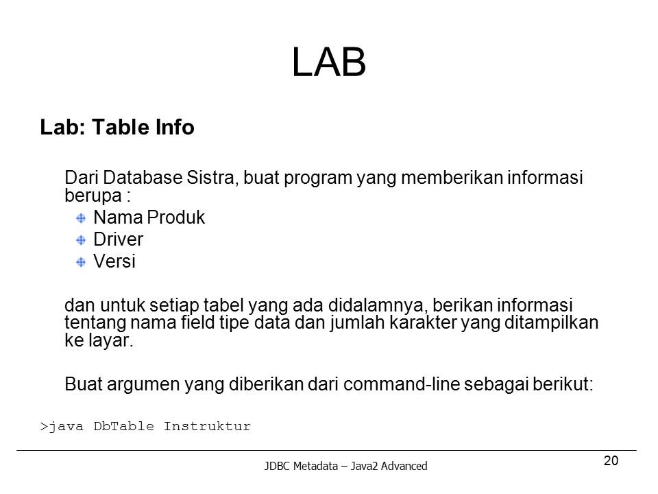 LAB Lab: Table Info Nama Produk Driver Versi