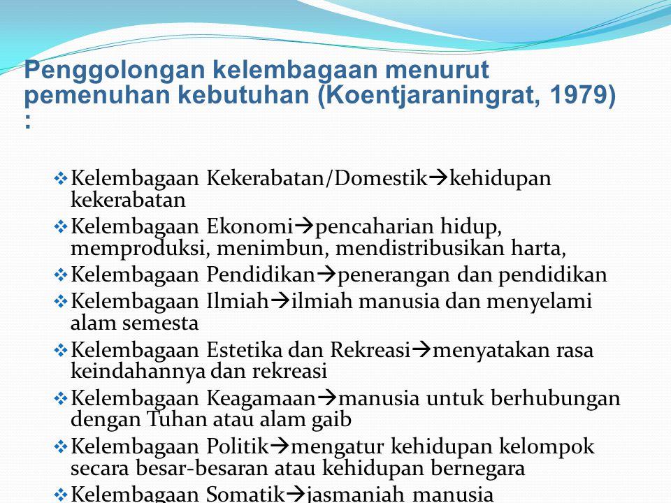 Penggolongan kelembagaan menurut pemenuhan kebutuhan (Koentjaraningrat, 1979) :