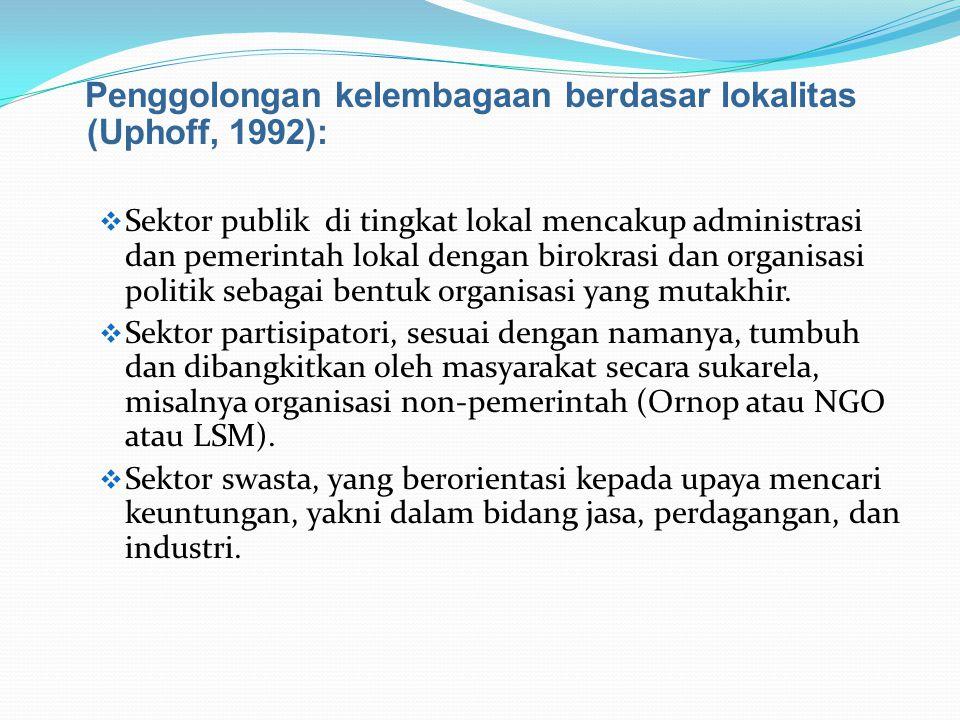 Penggolongan kelembagaan berdasar lokalitas (Uphoff, 1992):