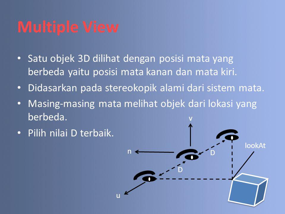 Multiple View Satu objek 3D dilihat dengan posisi mata yang berbeda yaitu posisi mata kanan dan mata kiri.