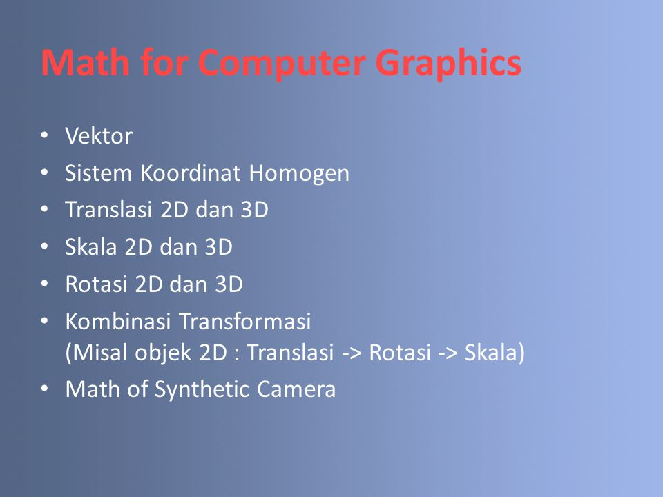 Math for Computer Graphics