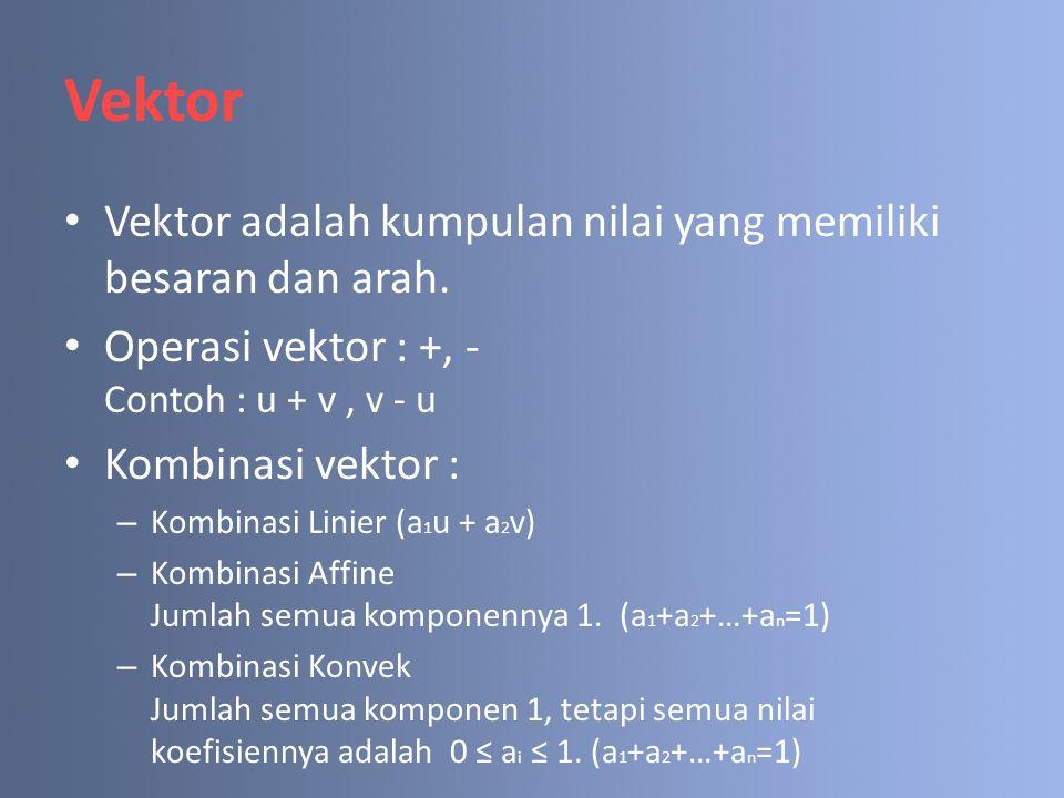 Vektor Vektor adalah kumpulan nilai yang memiliki besaran dan arah.
