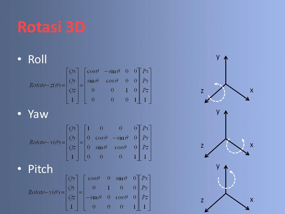 Rotasi 3D Roll Yaw Pitch y z x y z x y z x
