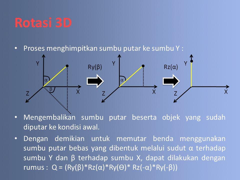 Rotasi 3D Proses menghimpitkan sumbu putar ke sumbu Y :