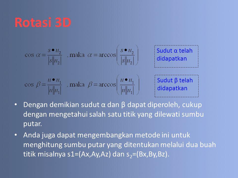 Rotasi 3D Dengan demikian sudut α dan β dapat diperoleh, cukup dengan mengetahui salah satu titik yang dilewati sumbu putar.
