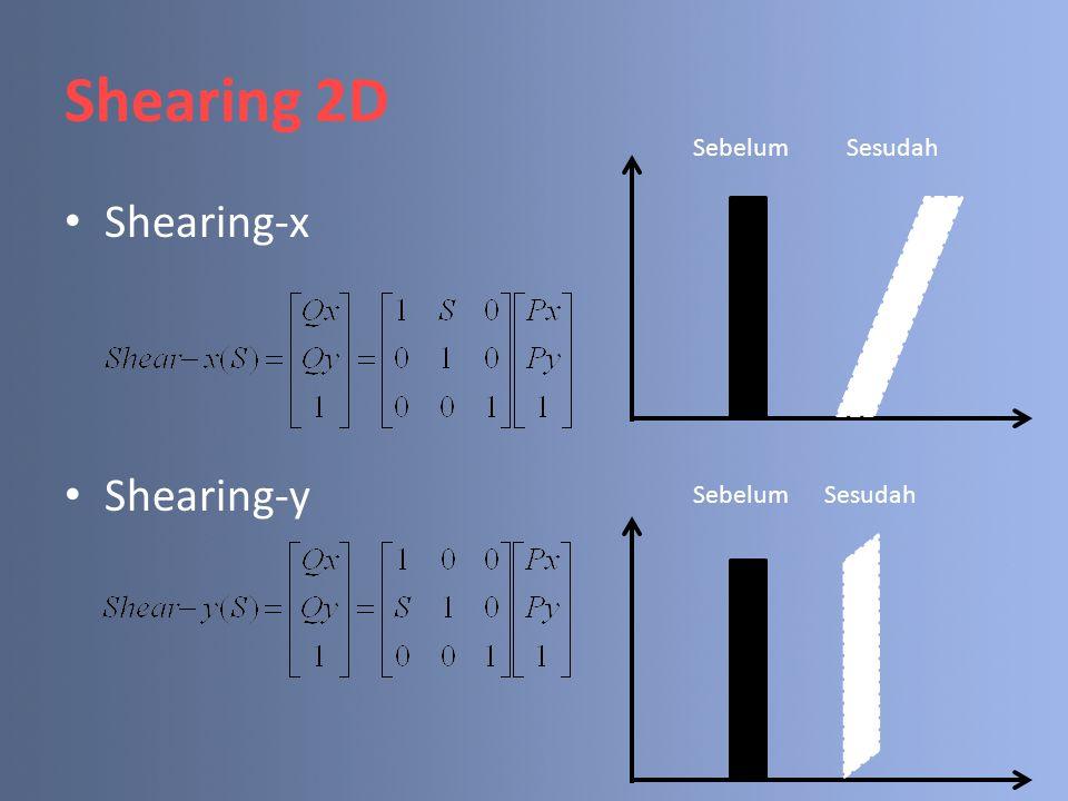 Shearing 2D Sebelum Sesudah Shearing-x Shearing-y Sebelum Sesudah