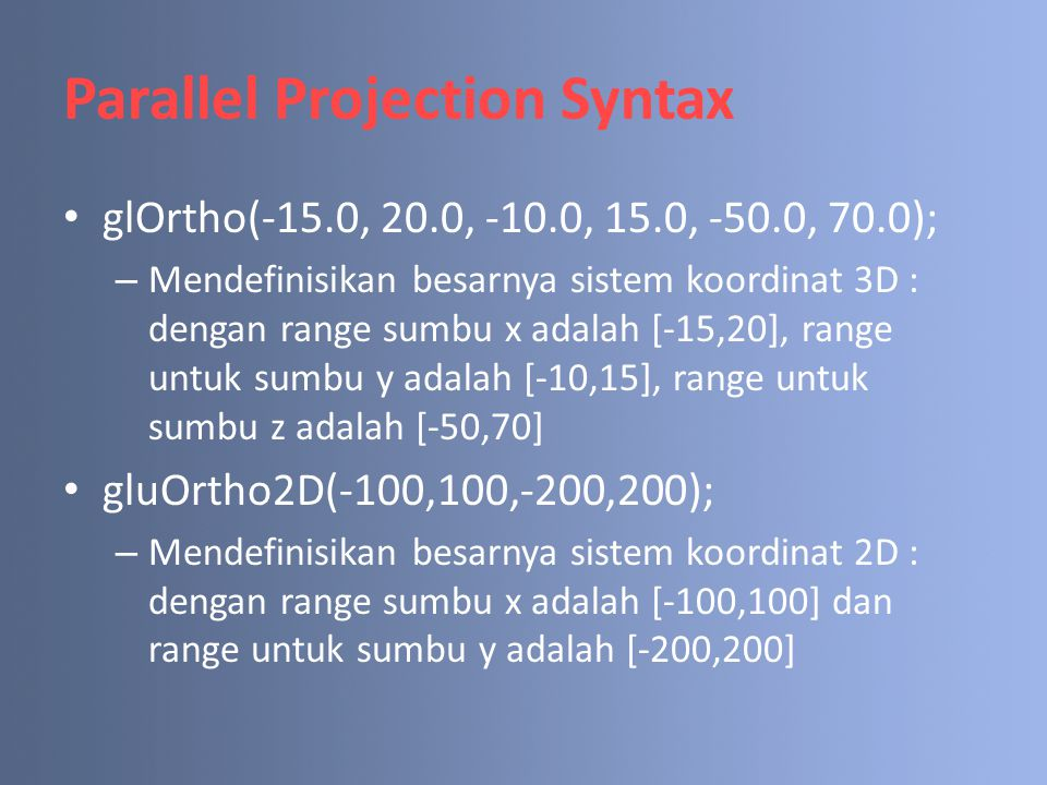 Parallel Projection Syntax
