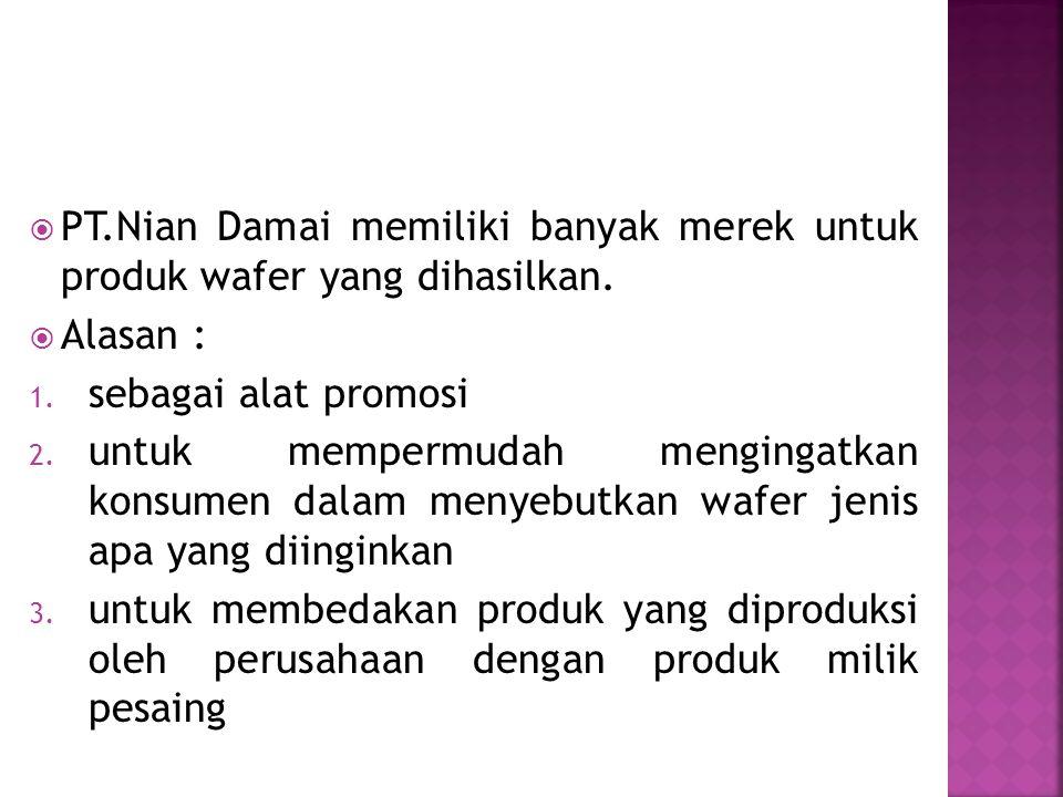 PT.Nian Damai memiliki banyak merek untuk produk wafer yang dihasilkan.